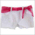 Mulberribush White Shorts w/ Tulip Pockets & Fuchsia Lace Belt