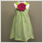 Mulberribush Lime Striped Cross Back Halter Dress with Knit Fuchsia Flower