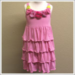 Mulberribush Pink Strappy Tiered Dress with Flowers