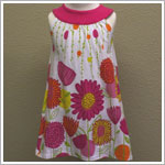 Mulberribush Yoke Collar Pink and Orange Floral Dress