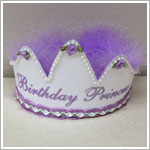 *Birthday Princess* Lavender/White Crown Party Hat