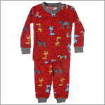 Petit Lem Red Hockey Dog 2pc L/S Jammies