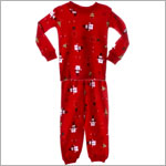Petit Lem Red Snowman Print Holiday 2pc L/S Jammies