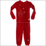 Petit Lem Red Striped Snowman 2pc L/S Jammies