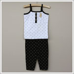 Petit Lem *Fashion Dogs* White And Black Tank With Capri Pajama Set