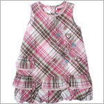 Petit Lem Pink Plaid Sleeveless Ruffle Bubble Dress w/ Hearts