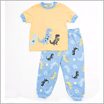 Petit Lem Yellow Dinosaur Top And Blue Dinosaur Pants