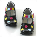 II: Rainbow Steps Black and Multi Colored Polka Dot Shoes