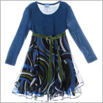 Plum Pudding L/S Blue Knit Top Dress w/ Sheer Skirt