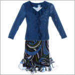 Plum Pudding Blue Knit L/S Sweater & Blue/Green Skirt Set