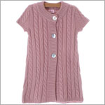 Plum Pudding Pink S/S Long Cable Cardigan w/ Shell Buttons