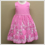 Plum Pudding Pink Sleeveless Dress with Rose Embroidery