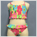 Plum Pudding *Banana Cabana* 2pc Floral Shirred Cross-Back Swimsuit