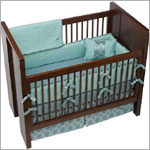 Z: Petunia Pickle Bottom Crib Bedding (Brocade) - Sea Glass Roll
