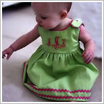Z: Princess Linens Green with Hot Pink Garden Princess Pique Dress