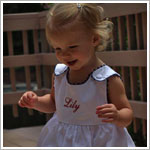 Z: Princess Linens White with Navy Garden Princess Pique Dress