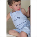 Z: Princess Linens The Hamptons Blue Pin Stripe with Navy Pique Romper