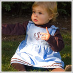 Z: Princess Linens Baby Blue  with Brown Bon Bon Corduroy Dress