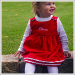 Z: Princess Linens Red with White Bon Bon Corduroy Dress
