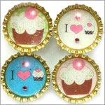 Purple Mountain Bottle Cap Magnet - Cupcake Cutie