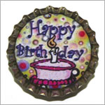 Purple Mountain New Bottle Cap Magnets - Happy Birthday