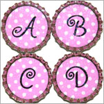 Purple Mountain New Bottle Cap Magnets - Pink Dot Initials