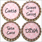 Purple Mountain New Bottle Cap Magnets - Polka Dot Sayings
