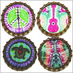 Purple Mountain New Bottle Cap Magnets - Tie Dye Fun