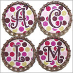 Purple Mountain New Bottle Cap Magnets - Multi Color Dot Initials