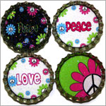 Purple Mountain New Bottle Cap Magnets - Peace Pop 2