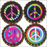 Purple Mountain New Bottle Cap Magnets - Rainbow Peace Signs