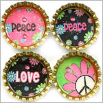 Purple Mountain Bottle Cap Magnet - Peace Pop 3