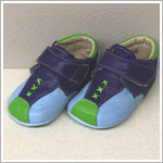 II: Rainbow Steps BLUE Baby Boy Leather Velcro Shoes w/ Stitching