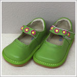 II: Rainbow Steps GREEN Leather Shoes w/ Flowers *SQUEAKS*