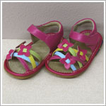 II: Rainbow Steps HOT PINK Weaved Tri-Flower Strappy Sandals *SQUEAKS*