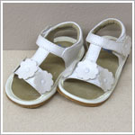 II: Rainbow Steps WHITE T-Strap Tri-Flower Sandals *SQUEAKS*