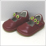 II: Rainbow Steps Dark Red Leather Shoes w/ Lime Flowers *SQUEAKS*