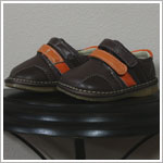 II: Rainbow Steps BROWN Boys Double Velcro Leather Shoes *SQUEAKS*