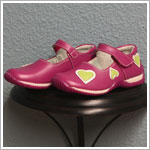 II: Rainbow Steps Hot Pink Leather Shoe with Lime Hearts