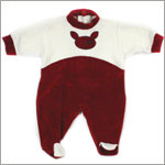 : Alphabet Velour Cream and Burgundy Footy