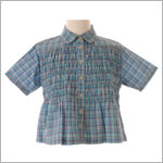 2T: Cake Walk Blue Plaid Smocked Tunic Blouse
