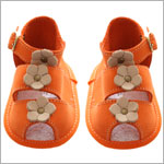 R: Orange Soft Leather Booties With Flowers
