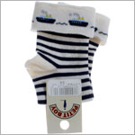 R:  Petit Boy Navy And White Stripe Socks  With Ships