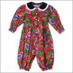 R: Baby Cary Red Morning Glory Print Romper