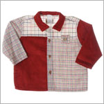 R: Petit Boy L/S Red Corduroy With Gingham Button Up Shirt