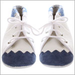 R: White Bootie With Navy Trim And Navy Toe