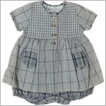 R: Amour De Petit Boy Navy Plaid Overlay Romper