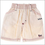 R: Petit Boy Cream Shorts With Red Stitching