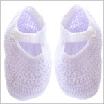 R: Sophie Dess Lavender Knit Booties With White Trim