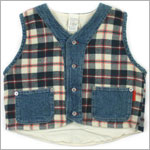 R: Petit Boy Denim and Plaid Vest